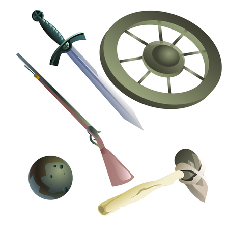 cartwheel: Collection of medieval and primitive weapons, five vector items