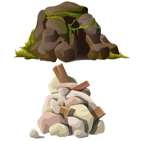 landfall: Two piles of stones, dark gray with mold and rocks with wooden debris Illustration