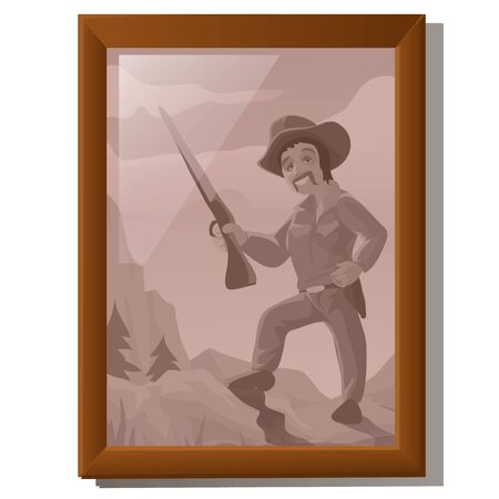 american stories: Wall picture in frame, portrait of American hunter, cartoon style, decor