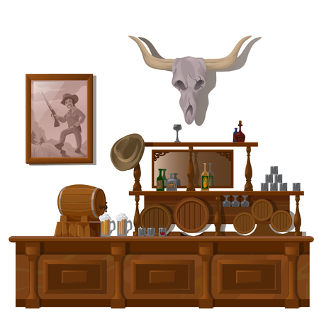 western theme: Bar in wild West style, with skull of bull, barrels of beer and bottles of alcohol