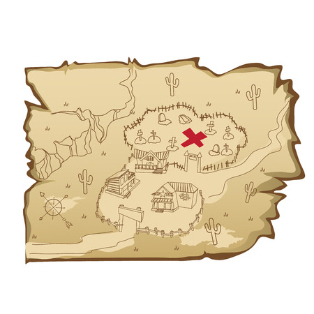 Old map in wild West style with village and cemetery, cartoon illustration Ilustração