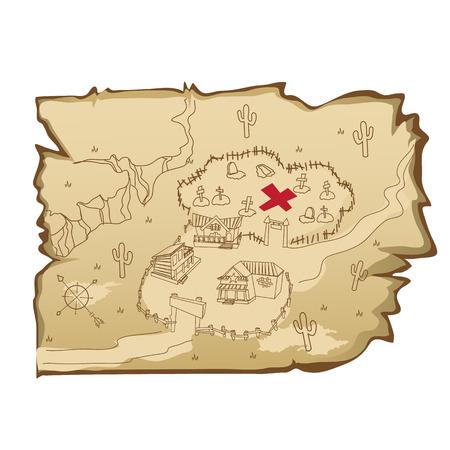 viejo mapa con un estilo salvaje oeste con el pueblo y el cementerio, ilustración de dibujos animados Ilustración de vector