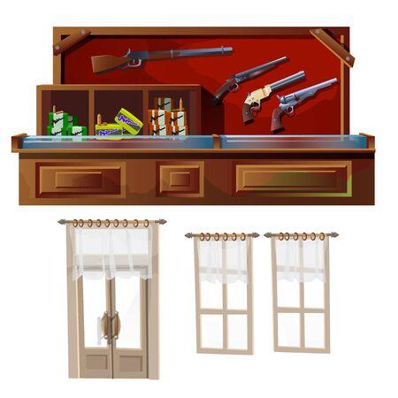 huntsman: Weapons shop and door and windows, vector illustration