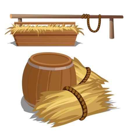 Hay to feed livestock and barrel, vector composition
