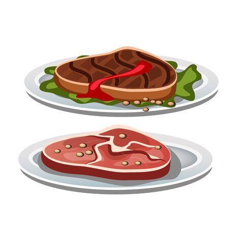 steak beef: Two grilled steak on a white background, vector food Illustration