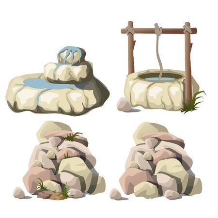 Bien con agua potable y la pila de piedras. ilustración vectorial Ilustración de vector