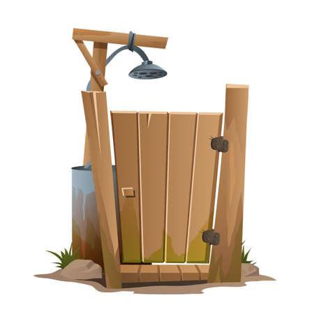 hamlet: Rural outdoor shower, vector illustration on white background