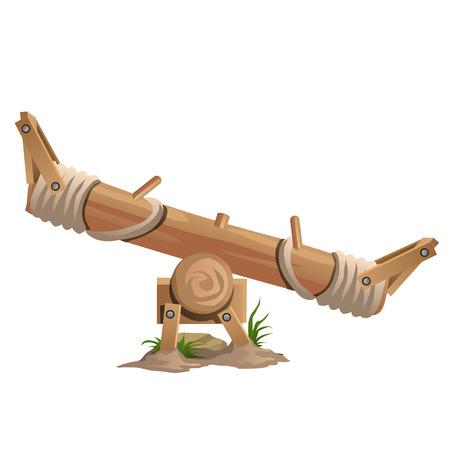 Wooden swings, seesaws on white background, vector illustration Illustration
