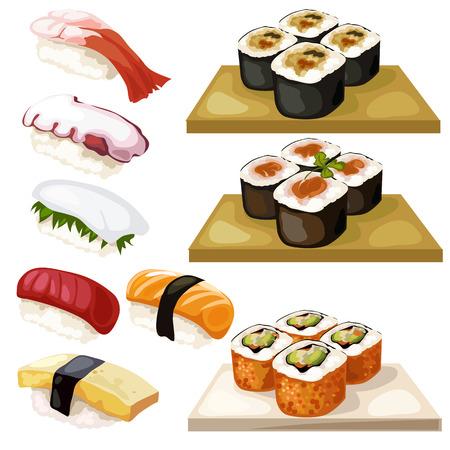 Sushi and rolls, traditional Japanese food, vector illustration Illustration