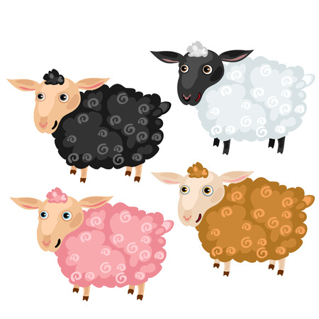 black and pink: Four spotted cartoon pisheep, black, pink, brown and white, vector animals on white background