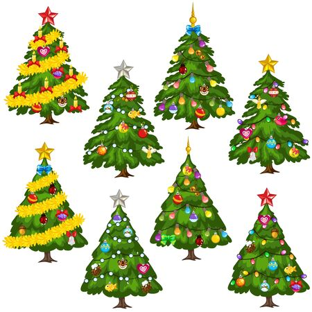 Big set green Christmas trees on white background, vector collection