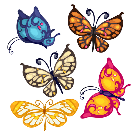 Five colorful beautiful butterfly, vector insect on white background