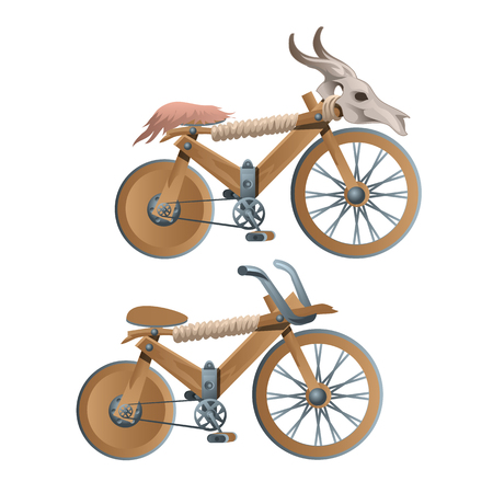 Two wooden retro bicycles, decor animal skull, vector illustration in cartoon style