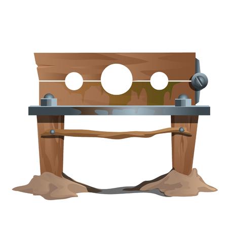 나무 족쇄, 고대 고문 및 실행, 벡터 일러스트 레이 션의 악기