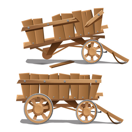 Two images of old wooden carts, new and broken. Vector illustration Illustration