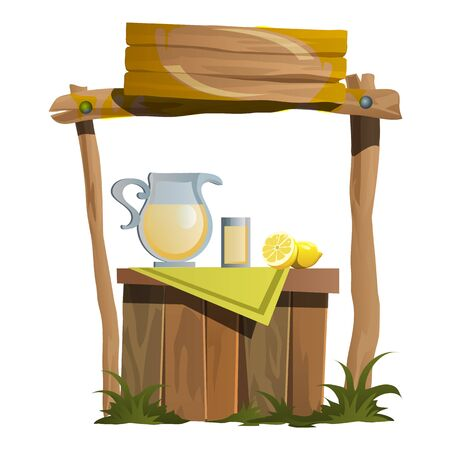 Stand on preparation and selling of citrus drinks, vector illustration in cartoon style