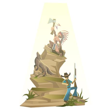 tomahawk: Indian with tomahawk on mountain top, vector illustration in cartoon style Illustration