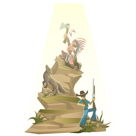 Indian with tomahawk on mountain top, vector illustration in cartoon style Illustration