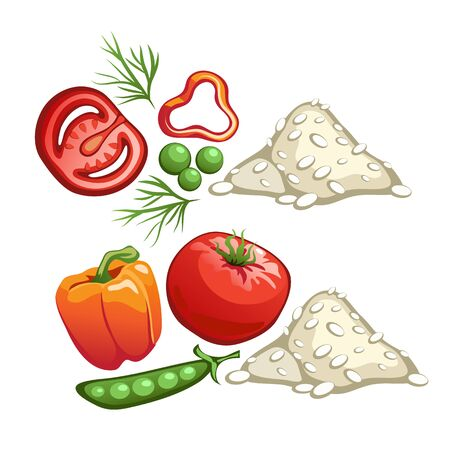 handful: Ingredients for cooking rice with vegetables, vector food