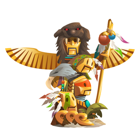 Golden ancient totem of man with mask of animal and bird wings Illustration