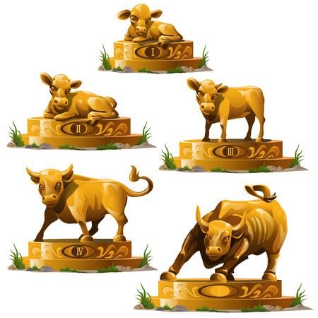 Five Golden statuettes of bull and deer, vector isolated