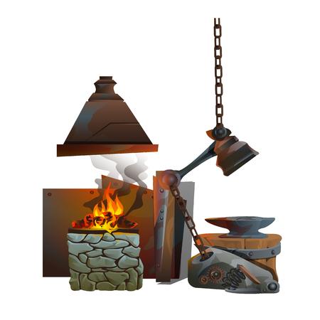 Workplace of blacksmith on white background, vector illustration