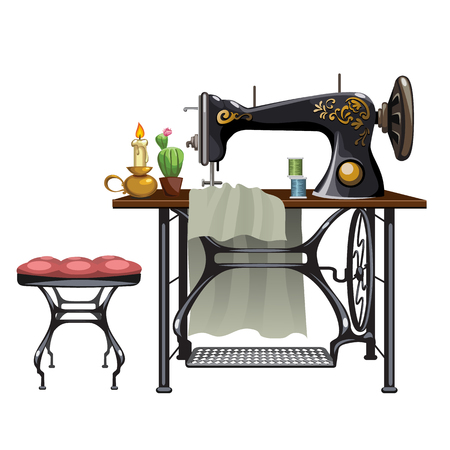 Workplace of seamstress on white background, vector illustration