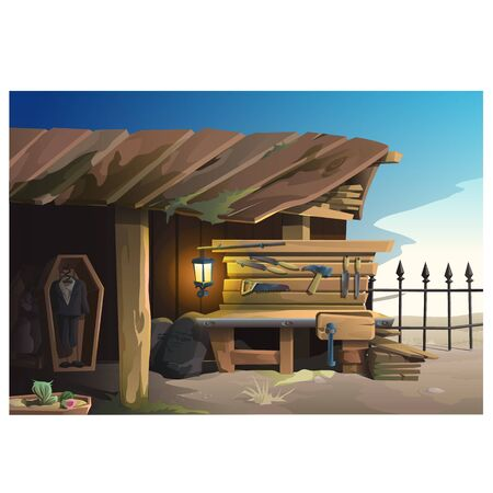 carpenter vise: Workplace of undertaker on white background, vector illustration