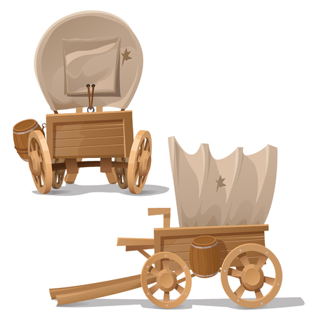 Old wooden cart with shot through canopy, vector image in two perspectives