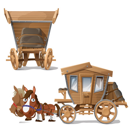 Wooden coach pulled by two horses, vector image in two perspectives