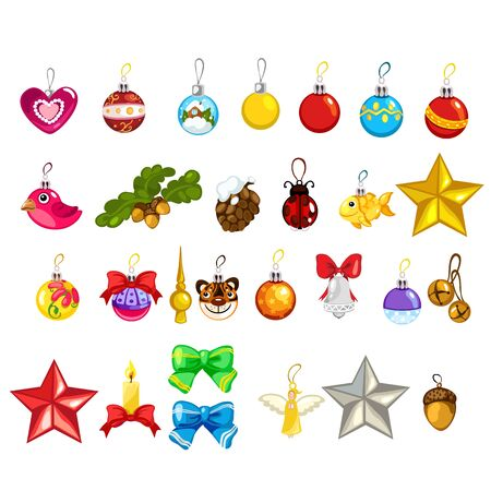 tree decorations: Large vector set of Christmas tree decorations on white background