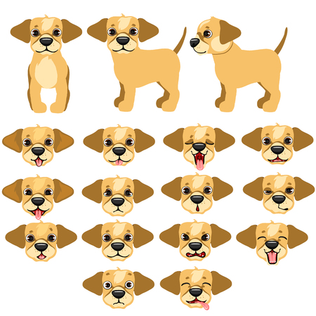 sneer: Funny dogs expressing emotions, big vector set on white background