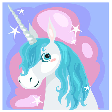 Postcard with a female unicorn with blue mane, vector illustration