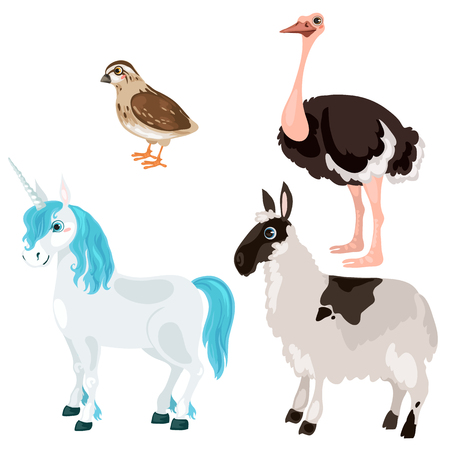 fallow: Unicorn, ostrich, deer and little bird on white background, vector animals