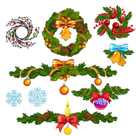 Corona de Navidad y otras decoraciones para las vacaciones. Ilustración vectorial Ilustración de vector