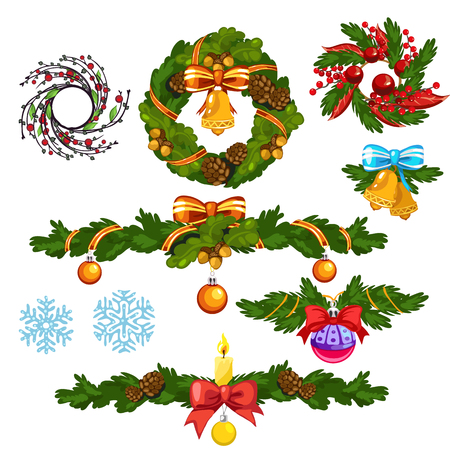 Christmas wreath and other decorations for the holiday. Vector illustration