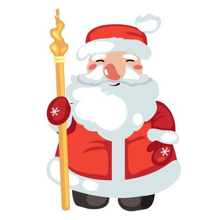 oldman: Isolated smiling cartoon Santa Claus character, symbol of Christmas and gifts