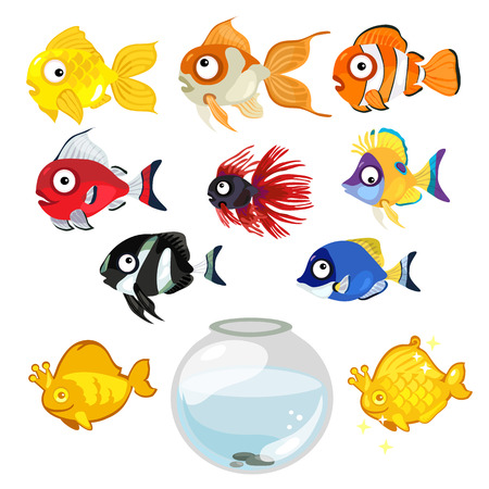 large set of multi-colored tropical aquarium fish and bowl on white background