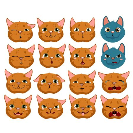 sneer: Cats expressing emotions, big vector set on white background