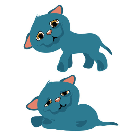 Sad blue kitty, vector cartoon animation. pets isolated Vectores