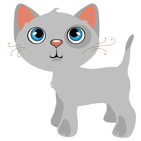 mjau: Pensive gray cat with blue eyes, cartoon vector pet, animal isolated