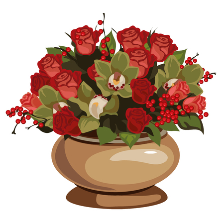 Beautiful bouquet of red roses with decor in vase, vector flowers