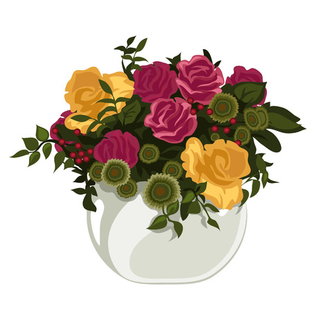 Beautiful bouquet of red and yellow roses with decor in vase, vector flowers Illustration