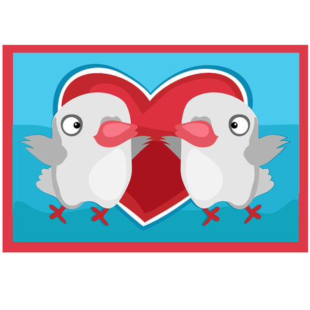 lovebird: Pair of lovers birds, picture on the wall in cartoon style