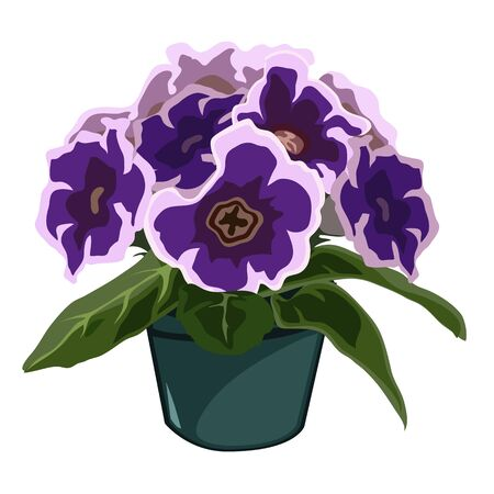 Decorative blue flowers in pot, vector flowers isolated, decor Illustration