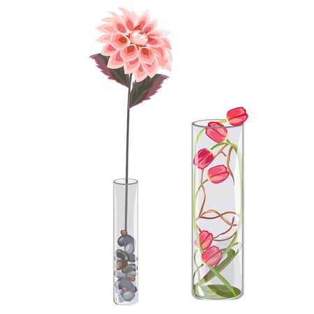 indoor bud: Flower decorative glass vase, interior decoration, vector flowers