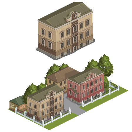 neighbourhood: Several multi-storey classical buildings with trees, vector city Illustration