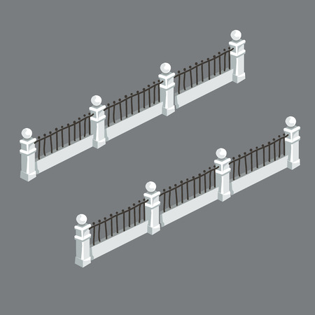 white fence: White fence in retro style with strong rods, vector element Illustration