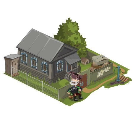 Village house with land, kitchen garden and host of nearby Illustration