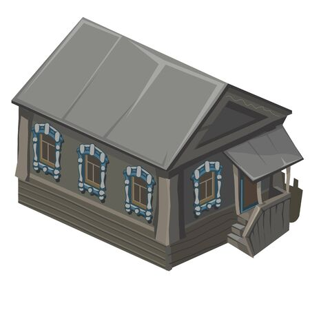 porch: Wooden old house in rustic style with porch, vector isolated